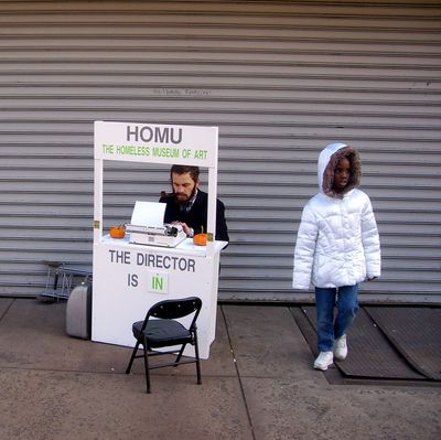 / Director Noterdaeme working at the HOMU Booth on the Bowery
